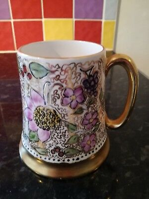 Beautiful Vintage Hand Painted Pottery Tankard Floral Design With Gold Gilt Trim