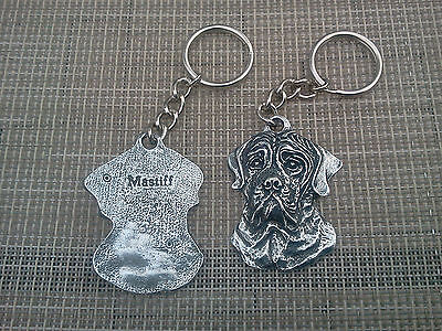 PUREBRED PET HIS & HERS or FRIEND 2 ENGLISH MASTIFF DOG PEWTER KEY CHAIN NEW.