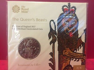Queen's Beasts Lion 2017 5-Pound BU Coin - CUPRO-NICKEL - (NOT Silver) OGP