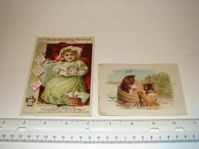 2 Antique Victorian Trade Cards Advertising Sewing Machines New Home Girl Cats