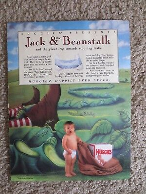 Huggies Diapers baby  Jack & the Beanstalk Magazine Print Ad 1989