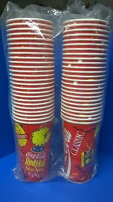 50 large Coca Cola cups, Red Hot Summer Game, paper, wax, 1995