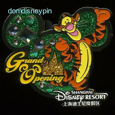 Disney Pin SDR Shanghai *Grand Opening* Tigger w/ Sparkle Mickey Icon (Jeweled)!