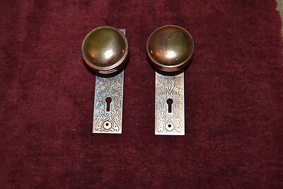 1 Set Of Metal Door Knobs And Face Plates Very Nice  #2