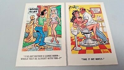4 Old CHEEKY Naughty POSTCARDS 1950s & 1960s