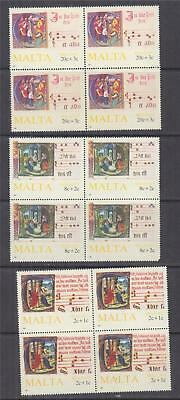 MALTA, 1987 Christmas, Illuminated Manuscripts set of 3, blocks of 4, mnh.