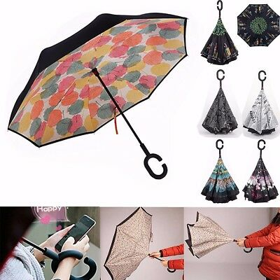 Double Layer Upside Down Inverted Umbrella Reverse C Shaped Handle Windproof HOT
