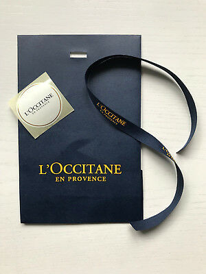 L'Occitane Small Blue Gift Bag with Flap, Sticker & Tie Ribbon