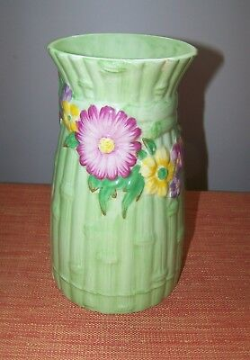1 Beautiful Vintage MALING Green Flowers Bamboo Style Vase Made in England ASIS
