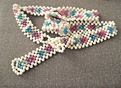 """LONG 68/"""" Hand Made Ladies Belt w Purple and Clear Faceted Plastic Beads FLASHY"""