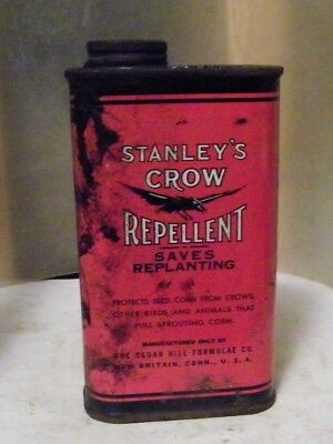 vintage tin Stanley's crow repellent pic crow Cedar Hill Formulae New Britain,ct