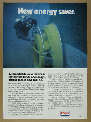 1975 SCAMP ship hull cleaner scuba diver photo EXXON vintage print Ad