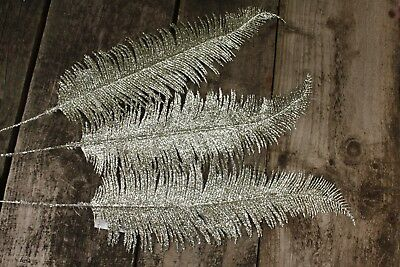 3 x PALE CHAMPAGNE GOLD GLITTER WIRED FEATHER / FERN STEMS  61cm  FLORAL FOLIAGE