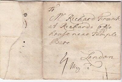 # c.1725 MARY FRANK LETTER CAMPSAL YORKS>BROTHER AT RICHARDS COFFEE HOUSE LONDON