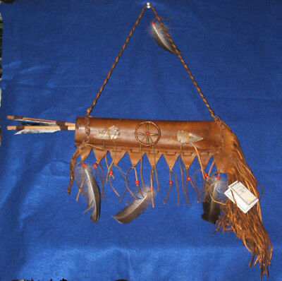 Lil Hawk Leather Quiver w/ Two Arrows Native American Navajo #01