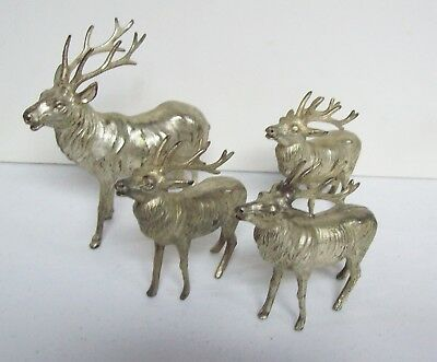4 Vintage 1920s Pot Metal Silver Colored Christmas REINDEER - Silver Colored