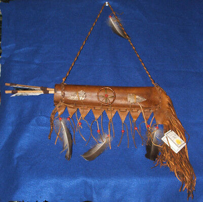 Lil Hawk Leather Quiver w/ Two Arrows Native American Navajo #02
