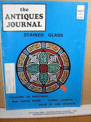 The Antiques Journal March 1975 Stained Glass, War Ration Books, Classic Cameras