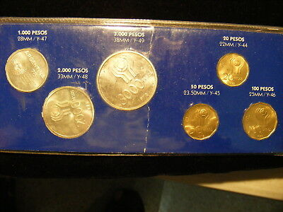 Argentina 1978 Six Coin Mint Set, 3 Coins are Silver, 1978 World Cup Issue
