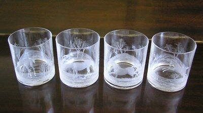 Set of 4 SPC Hungary Hungarian Etched Double Old Fashioned Tumblers Horses Pony