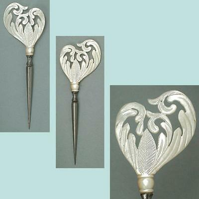Ornate Antique Carved Mother of Pearl Stiletto /Awl * French * Circa 1830