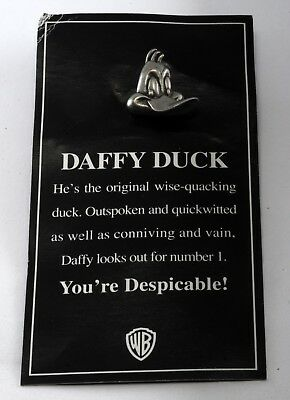 1992 Daffy Duck Warner Brothers Silver Tone Pewter Pin Fashion Jewelry Signed WB