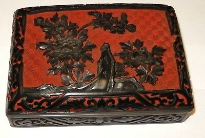 """Chinese Floral Carved Black Cinnabar Lacquer Enamel Humidor Box 6"""" X 4"""" X 2"""""""