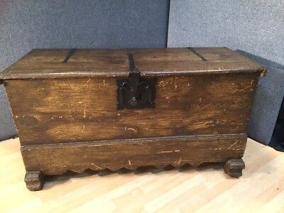 Outstanding Flemish Gothic Antique Pine Blanket Box Coffer Chest C 1860