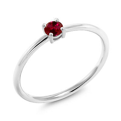 0.25 Ct Round Red Created Ruby 10K White Gold Solitaire Engagement Ring