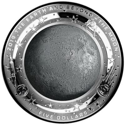 Australien 5 Dollar 2019 - Earth and Beyond - Mond (2.) Gewölbt - 1 Oz Silber PP