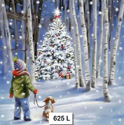(625) TWO Individual Paper Luncheon Decoupage Napkins - CHRISTMAS TREE BOY DOG