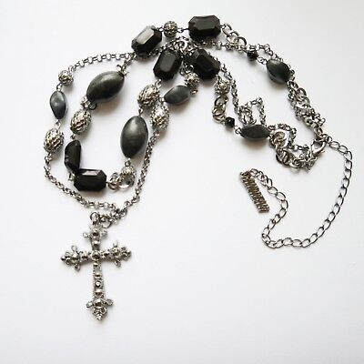 Cross Pendant Black Beaded Necklace Marcasite Style Silver Tone Gothic Vintage