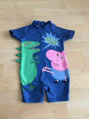 Baby Boys All In One UV Sun / Swim Suit Age 6-9 Months Bathers NEXT PEPPA PIG