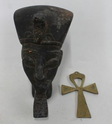Antique Egyptian Ramses II Stone Head Boca Raton Egyptologist Estate & Gold Ankh