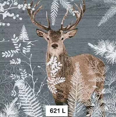 (621) TWO Individual Paper Luncheon Decoupage Napkins - DEER, STAG BUCK