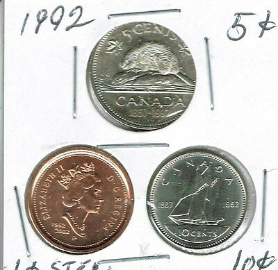 1992 Canadian Brilliant Uncirculated Three Coin 1, 5  and 10 Cent Type Set!