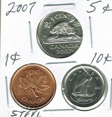 2007 Logo Canadian Brilliant Uncirculated Three Coin 1, 5  and 10 Cent Type Set!