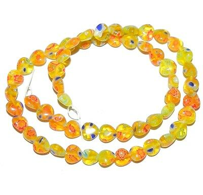 """G3079 Yellow w Multi-Color Flowers 8mm Puff Heart Millefiori Glass Beads 15"""""""