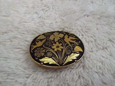 Vintage Damascene Flowers & Birds Oval Tube Clasp Pin (A29)