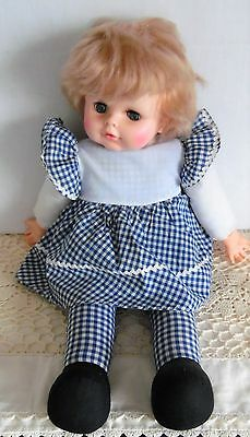 """1974 EEGEE 18"""" Pull STRING TALKING DOLL CLOTH BODY GINGHAM PLAID OUTFIT"""