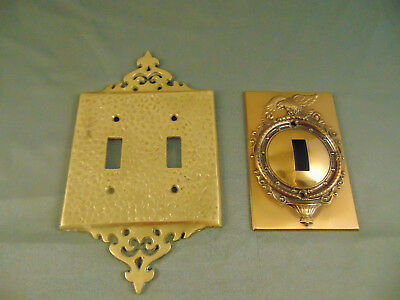 2 Metal switch plates single double hammered brass look American Eagle art Vtg