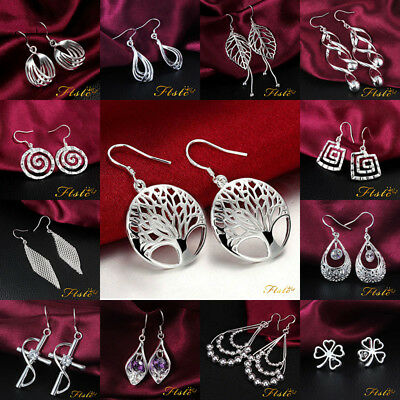 Sterling Silver Stamped 925 Earrings Drop Dangle Pendant Dangly Style