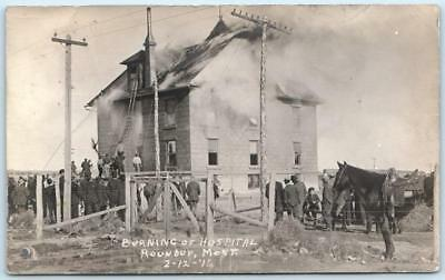 RPPC  ROUNDUP, Montana  MT    BURNING OF HOSPITAL Fire Photo 1911 Postcard
