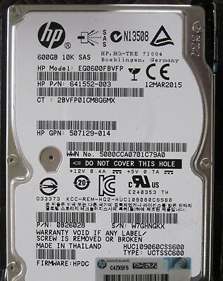 HP Storageworks 600Gb 10K SAS 2.5 HDD in tray for G8 G9 systems