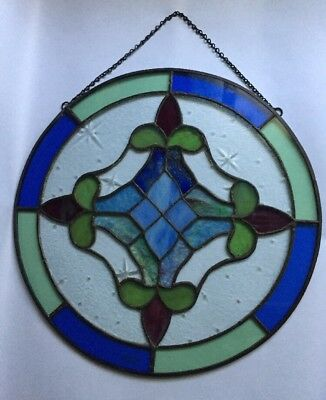 Stained Glass Round Window Panel Hanging w Chain 12 Inch Blue Green Sea foam
