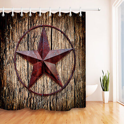 Waterproof Fabric Shower Curtain Rustic Wood Boards With Five-Pointed Star Decor