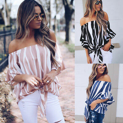 Ladies off the shoulder Flared Sleeve Strapless Party Blouse Tops Shirt Tee AU
