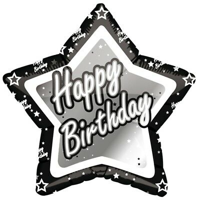 Party Wholesalers Creative Party 18 Inch Black/silver Star Balloon - Happy -