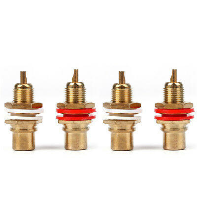 VOSO Gold Plated RCA Phono Chassis Sockets Pro Audio Connector 2 Red 2 White