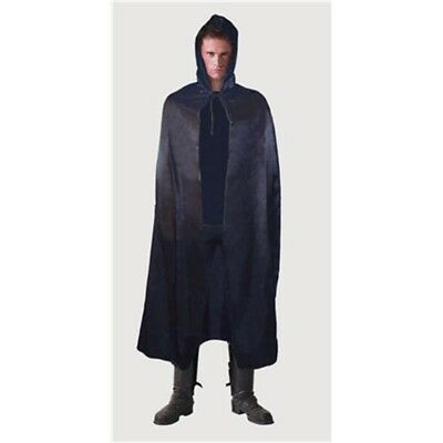 142cm Black Satin Adults Hooded Cape - Fancy Dress Halloween Costume Adult